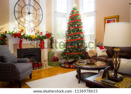 A Traditional Home Decorated For Christmas Celebrations