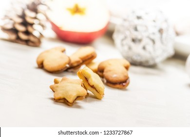 Traditional homemade christmas sweets on white table