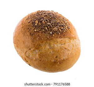 Traditional homemade french round bread isolated on a white background
