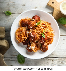 Traditional homemade spaghetti with meatballs