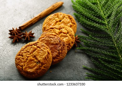 Traditional homemade spicy cookies served on a wooden table.