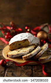 Traditional homemade stollen cake with raisins
