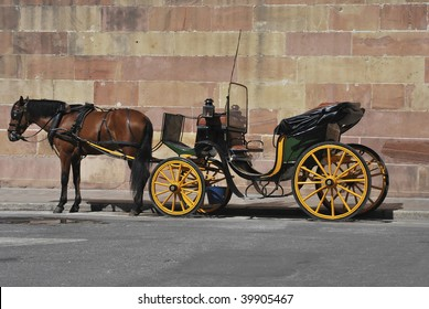 Traditional horse carriage in Malaga. Spain. Touristic transport