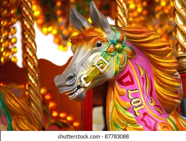A Traditional Horse on a Fun Fair Carousel Ride.