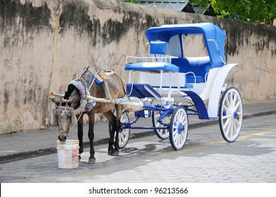 Traditional Horse-drawn carriages waiting for tourists in Santo Domingo, Dominican Republic