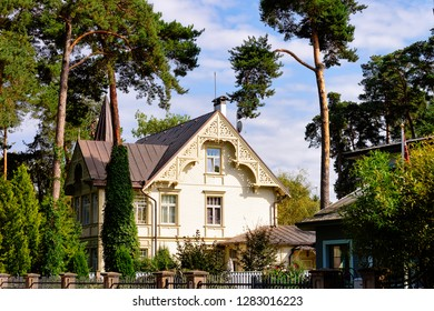 Traditional house architecture in Jurmala in Latvia.