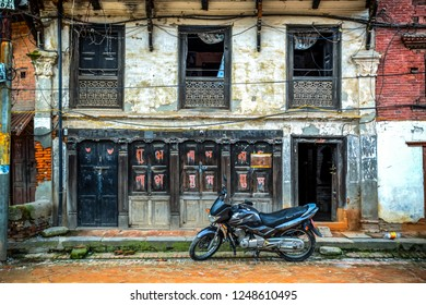 Traditional house façade in the Bhaktapur Durbar Square, the former capital city of the Royal Kingdom of Bhaktapur, Kathmandu valley, Nepal. Photo taken on the 27th of July 2018.