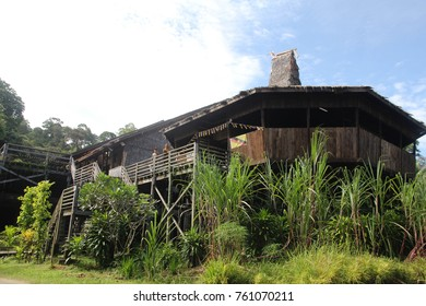 Traditional house of Bidayuh tribe called Barok in Sarawak Culture Village.