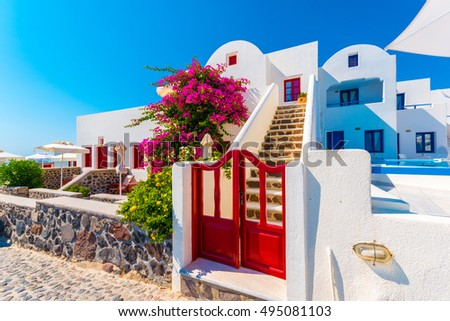 5873b396a8af Traditional House Flower Santorini Greece Stock Photo (Edit Now ...
