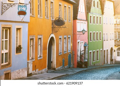 Traditional house in the German style in Rothenburg ob der Tauber. European architecture houses in Bavaria. Historic town.