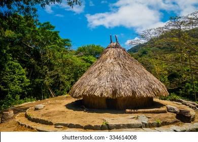 Traditional house of Kogi people, indigenous ethnic group in Tayrona National Park, Santa Marta, Colombia