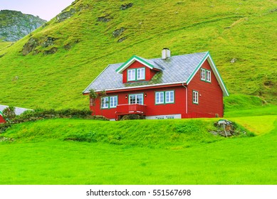 Traditional house on the island of Runde, a bird island. The west coast of the country. Norway