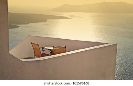 Traditional house at Santorini island in Greece with view to the volcanic caldera