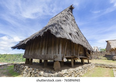 A traditional house in the Wologai village near Kelimutu in East Nusa Tenggara, Indonesia.