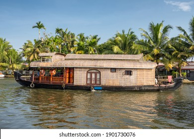 Traditional houseboat at beautiful backwaters in Alleppey, Kerala state, India