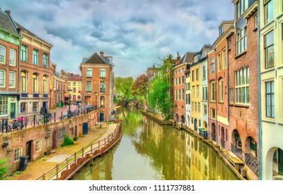 Traditional houses along a canal in Utrecht - the Netherlands