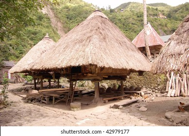 Traditional houses in Bana-an in the Philippines