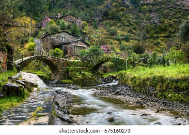 Traditional Houses and Bridges at Foz d'Egua, near Piodao, Portugal