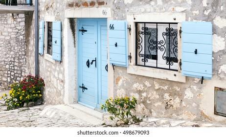 Traditional houses in Croatia, town of Rovinj.