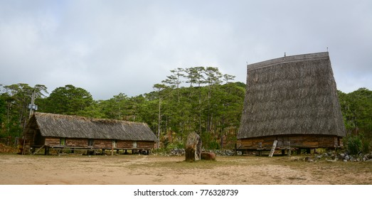 Traditional houses at an ethnic village in Central Highlands, Vietnam.