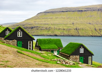 Traditional houses with grass roof in Faroe islands, Denmark