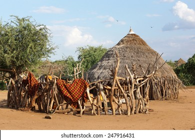 Traditional houses of Hamer people, Ethiopia, Africa
