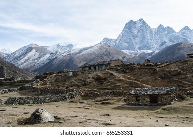 Traditional houses. Himalaya mountains, Everest region, Nepal.