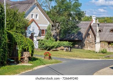 Traditional houses from Hungary, near lake Balaton, village Salfold, 29. August 2017