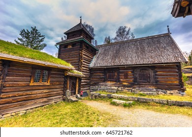 Traditional houses in Maihaugen open air museum in Lillehammer, Norway