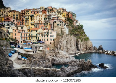 Traditional houses next to the sea at Manarola, Cinque Terre, Italy