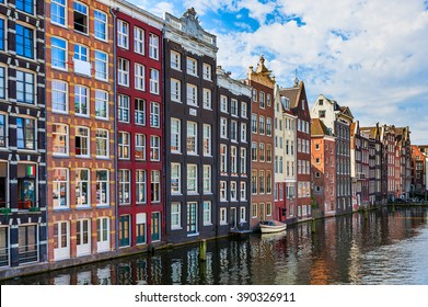 Traditional houses on canal in Amsterdam, Netherlands.