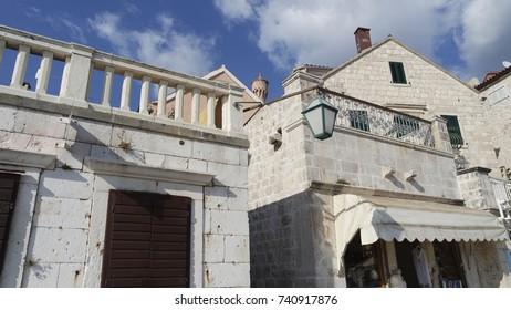 traditional houses on hvar island in croatia