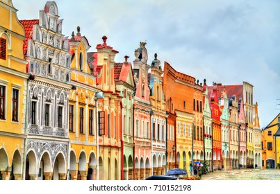 Traditional houses on the main square of Telc, Czech Republic. UNESCO heritage site