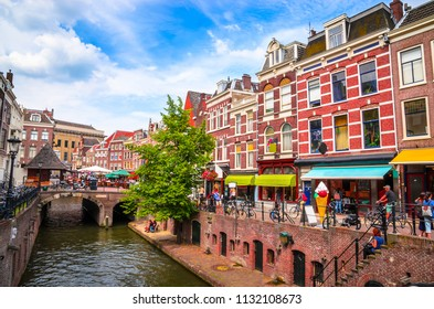 Traditional houses on the Oudegracht (Old Canal) in center of Utrecht, Netherlands.