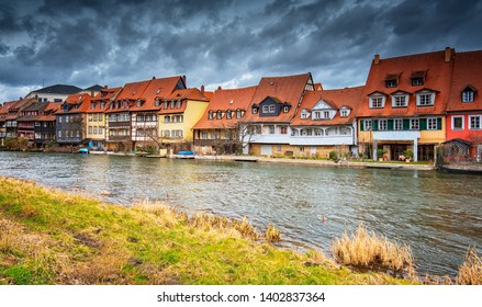 Traditional houses on the riverbank in Bamberg, Germany