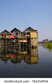 Traditional houses on stilts in a floating village on  Inle Lake,  Myanmar (Burma)