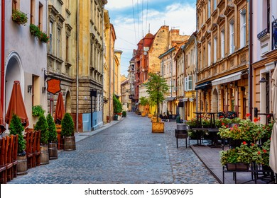 Traditional houses in a pedestrian street in historical Old town of Lviv, Ukraine