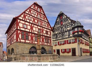 Traditional houses in Rothenburg ob der Tauber, Central Franconia, Bavaria, Germany