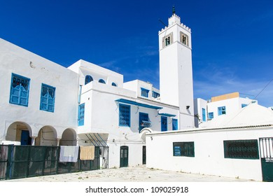 Traditional houses in Sidi Bou Said, Tunisia, city tower