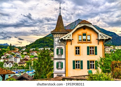 Traditional houses in Spiez, Switzerland