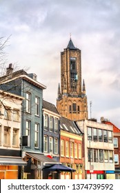 Traditional houses and St. Eusebius church in the old town of Arnhem, the Netherlands