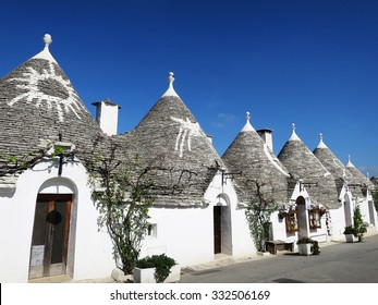 "The traditional houses ""trulli"" in Monte Pertica Street, Alberobello, ITALY"