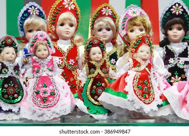 Traditional hungarian artistic dress on puppets as souvenir