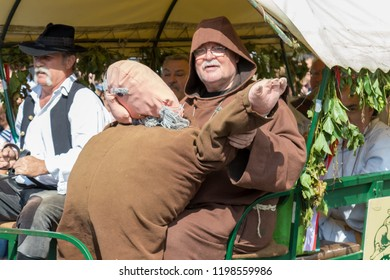 Traditional hungarian grape event participant in autumn in a village Badacsony. 09. 09. 2018 Hungary
