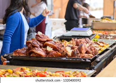 Traditional Hungarian pig slaughter dishes. Street food festival, food service