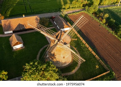 Traditional Hungarian windmill in alfold region near  by Hodmezovasarhely town. This amazing place is a public museum in countryside. The Hungarian name is Papi-fele szelmalom.