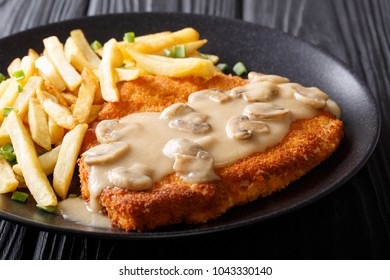 Traditional hunter schnitzel with sauce and fries close-up on a plate on a table. horizontal
