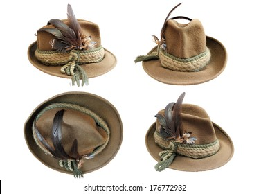traditional hunting hat details in four different views isolated over white for your design