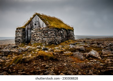 Traditional hut in the Westfjords in Iceland.