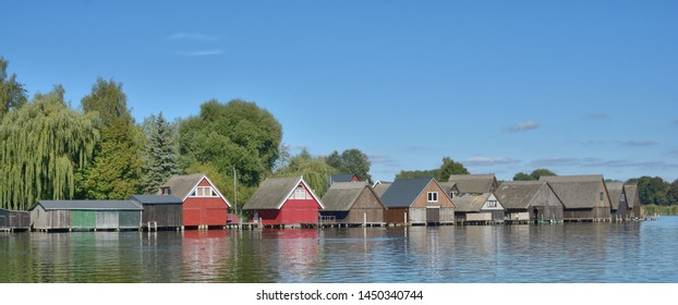 traditional Huts with thatched Roof in Mueritz National Park near Roebel,mecklenburg Lake district,Germany